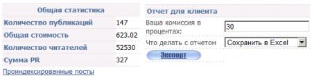 Экспорт отчета для клиента
