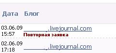 повторная заявка от отклонённого блога в списке