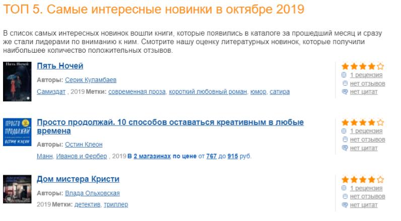 Boobkmix.ru - Книга Пять ночей в топ 5 за октябрь 2019