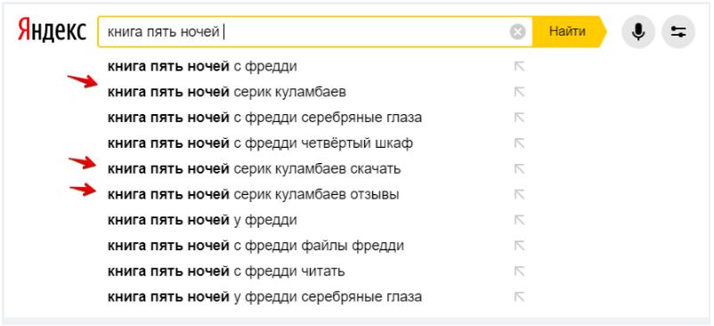 Книга Пять ночей попала в поисковые подсказки Яндекс
